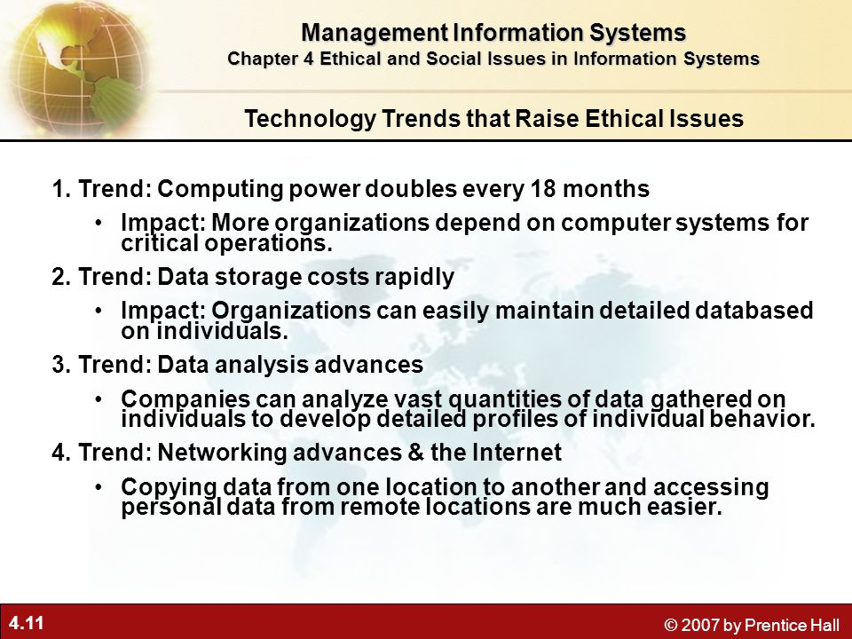 the ethics in management information systems information technology essay The following sections will focus on the impacts of information technology and   control issues raised by the use of computerized monitoring systems, but on the.