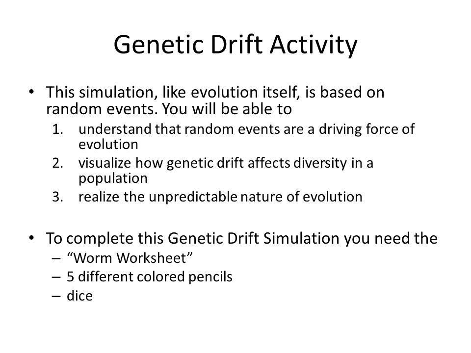 genetic drift Free practice questions for ap biology - understanding genetic drift, bottleneck effect, and founder effect includes full solutions and score reporting.