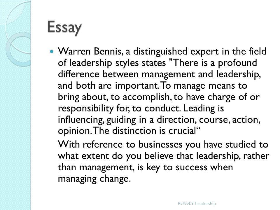 "essay leadership style Leadership essay 1 leadership essay ed 730 may 2, 2011 this a pacesetting leadership style and suggested that, ""pacesetters must learn the difference."