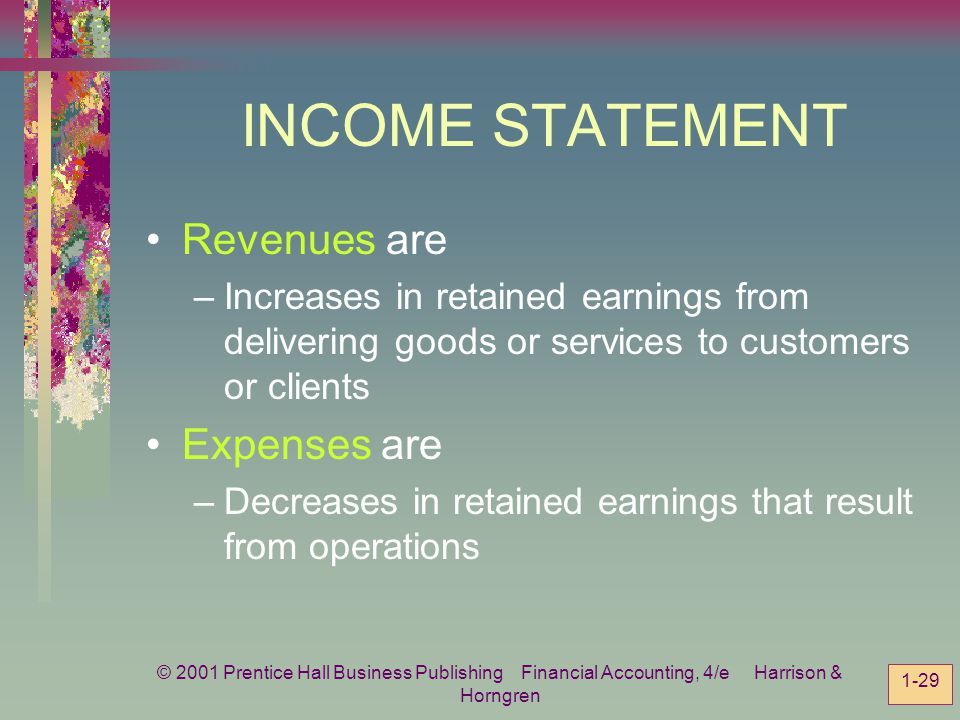 INCOME STATEMENT Revenues are Expenses are