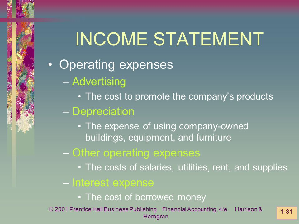 INCOME STATEMENT Operating expenses Advertising Depreciation