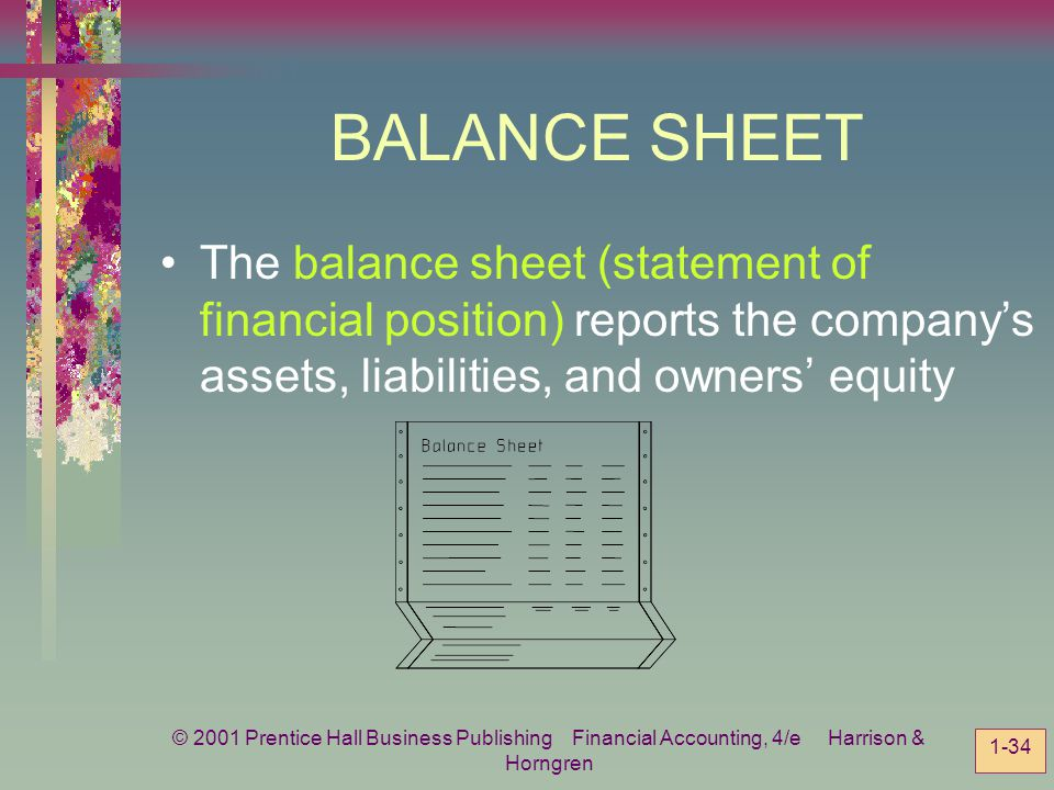 BALANCE SHEET The balance sheet (statement of financial position) reports the company's assets, liabilities, and owners' equity.