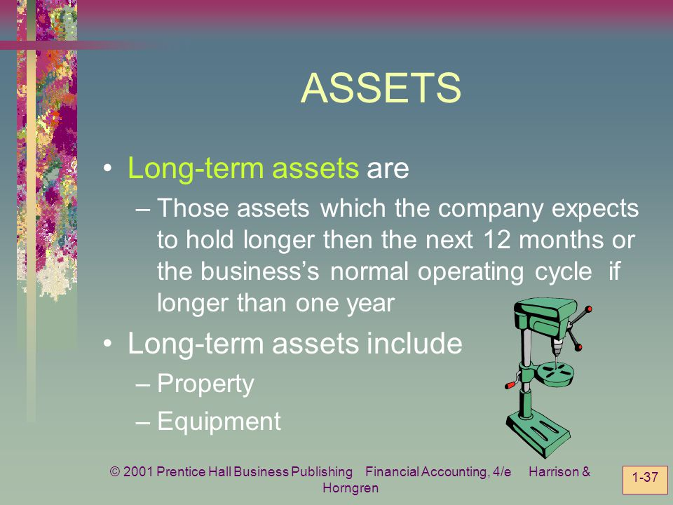 ASSETS Long-term assets are Long-term assets include