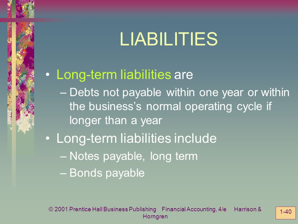LIABILITIES Long-term liabilities are Long-term liabilities include