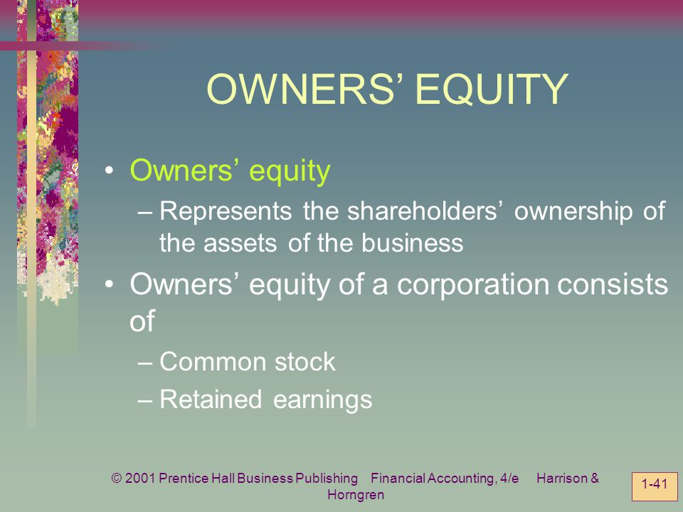 OWNERS' EQUITY Owners' equity
