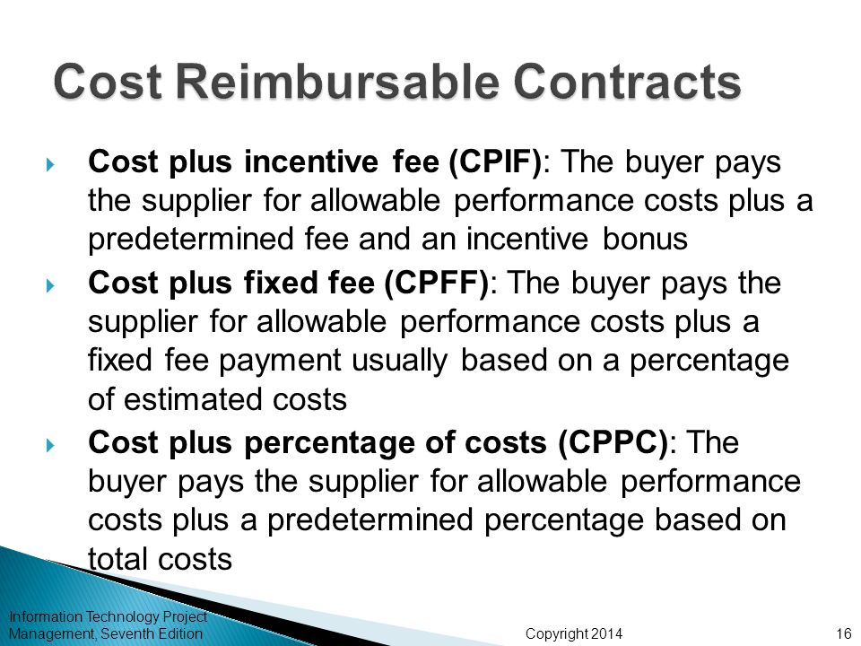 Chapter 12 project procurement management ppt video for Cost plus contract
