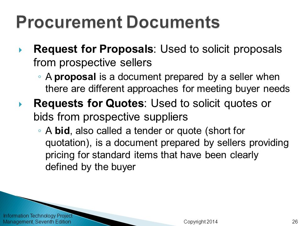 Chapter 12 project procurement management ppt video for Procurement document template