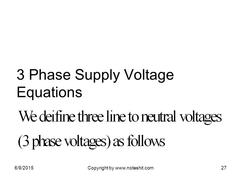 3 Phase Supply Voltage Equations