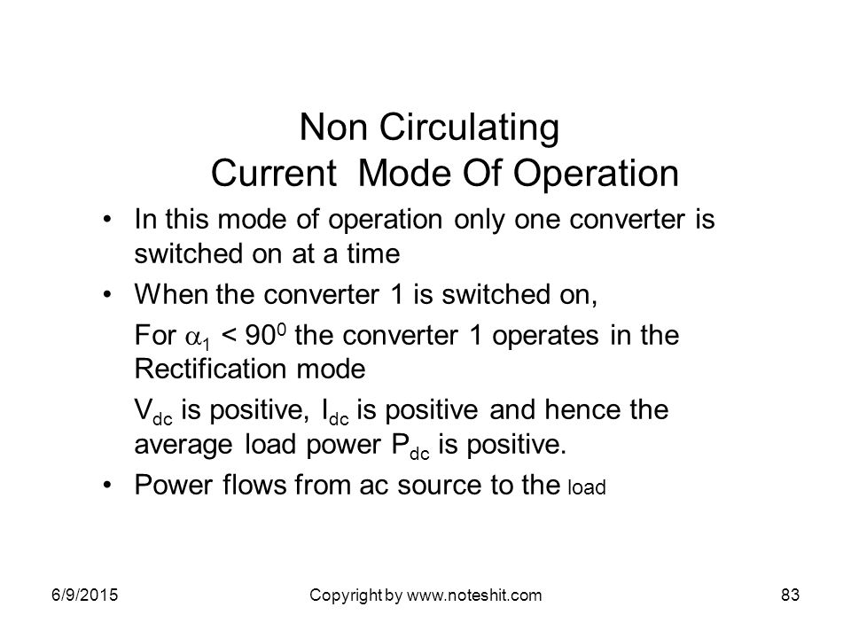 Non Circulating Current Mode Of Operation