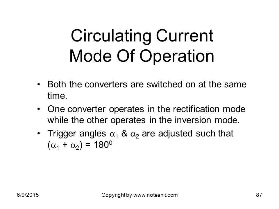 Circulating Current Mode Of Operation