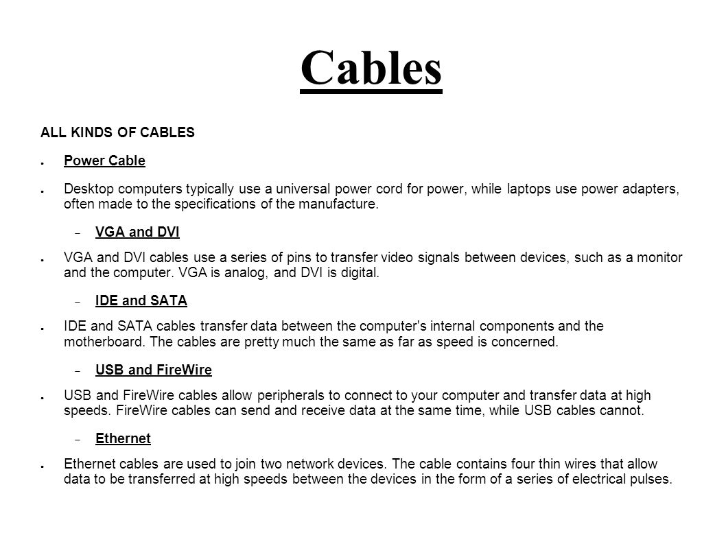 Ports, Cables and Connectors - ppt video online download