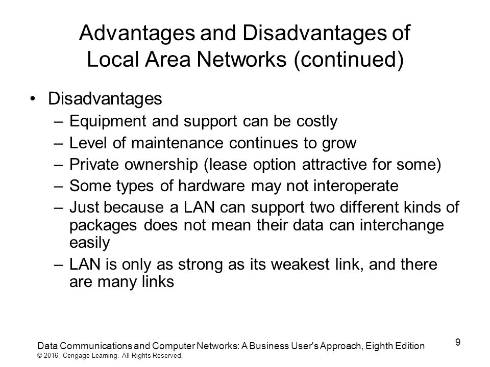 advantages and disadvantages local area network