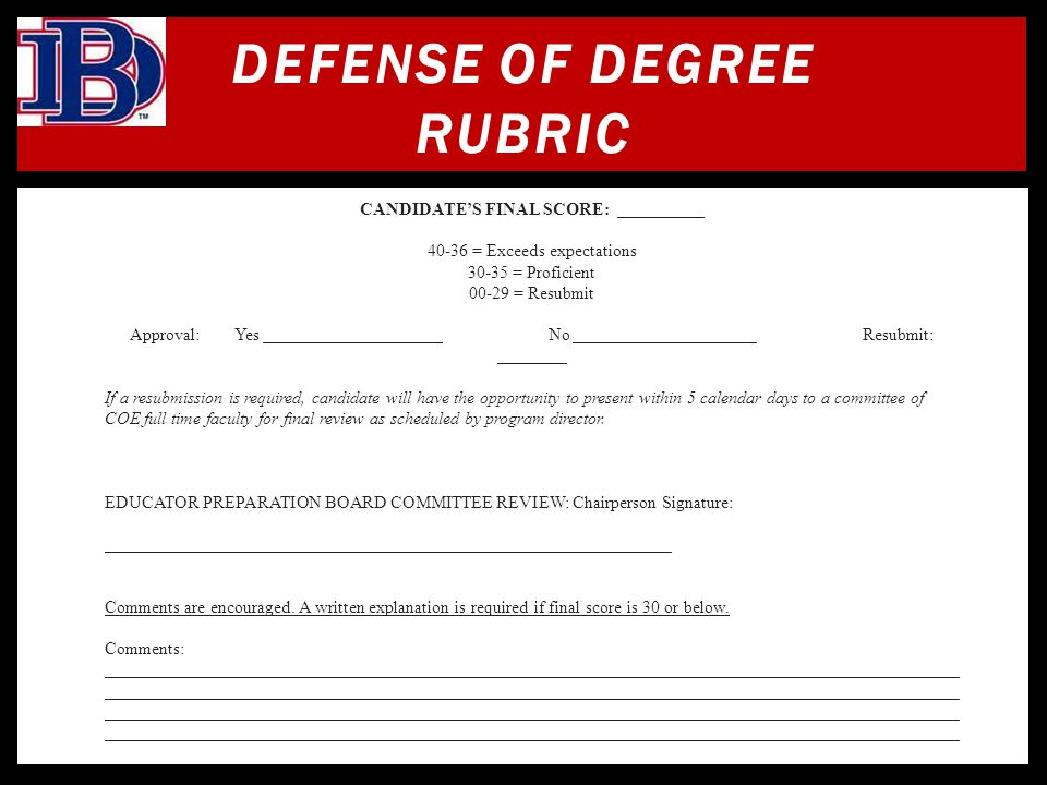 DEFENSE OF DEGREE RUBRIC
