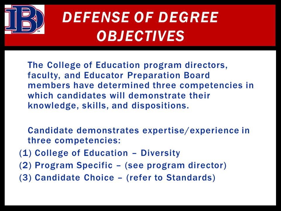 Defense Of Degree Objectives