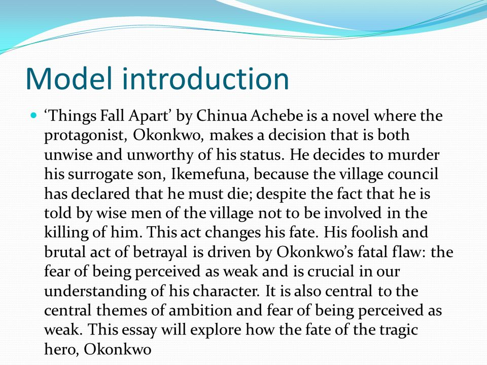 Essay about the book things fall apart
