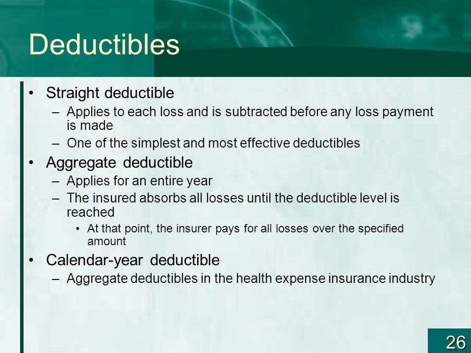 Calendar Year Medical Deductible : Insurance as a risk management technique policy