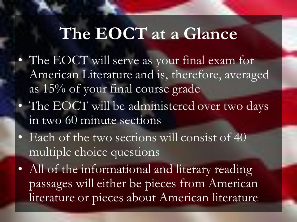 103 american literature final exam Final exam assignment 2017 refer at least once somewhere in your exam to a previous final exam from early american literature 2016 final exam.
