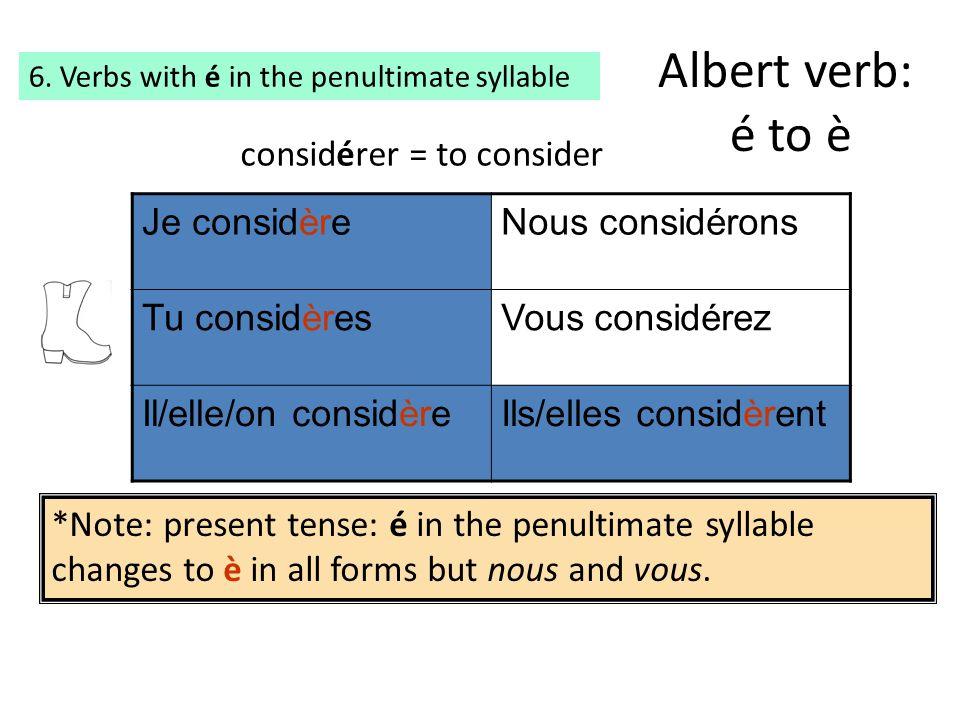 Albert verb: é to è considérer = to consider Je considère