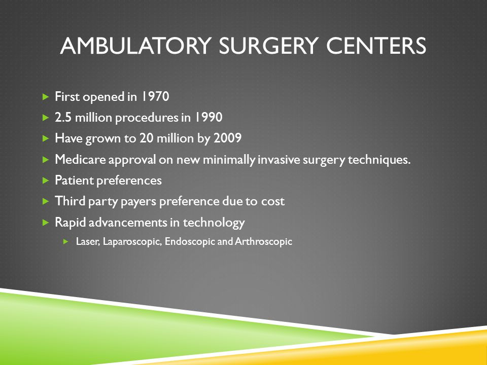 an analysis of ambulatory surgery center asc in hospital Although the common perception may be that using an ambulatory surgical center (asc) will save money compared to using a hospital for outpatient surgery, that may not always be the case in fact, the results can vary greatly from state to state that was the lesson to be learned at a december 2014.
