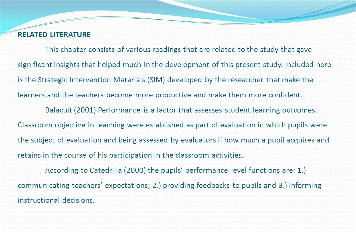 related literature of instructional materials The analysis of the review related literature on the use of instructional materials in social studies instructions contained in this literature review, show that instructional materials when properly used makes instructional process real, more permanent and more appealing.