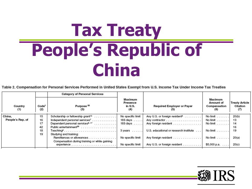 china u s tax treaty Of the usa-china income tax treaty allows an annual $5,000 exclusion of student wages from gross which normally acts to nullify the tax treaty's benefits.