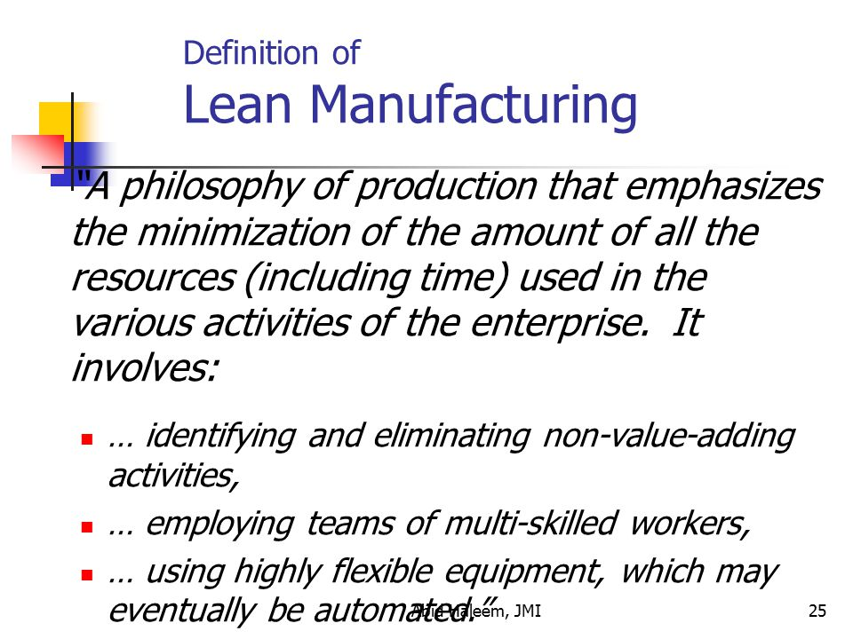 Definition of Lean Manufacturing