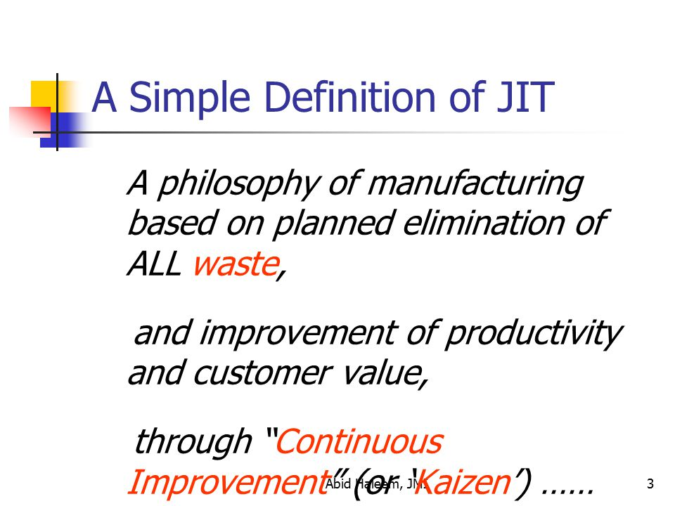 A Simple Definition of JIT