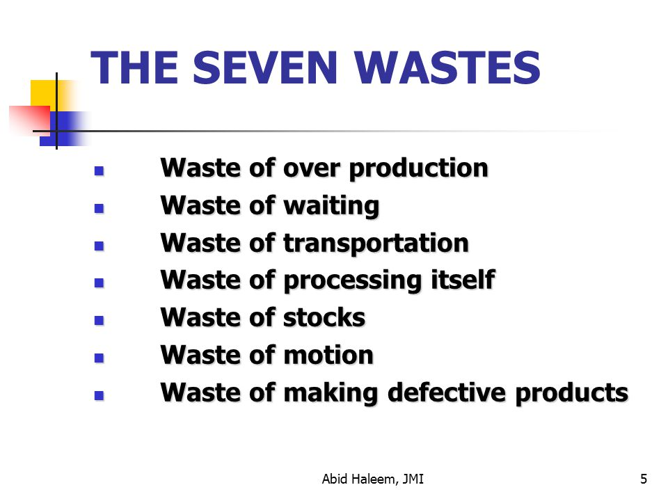 THE SEVEN WASTES Waste of over production Waste of waiting