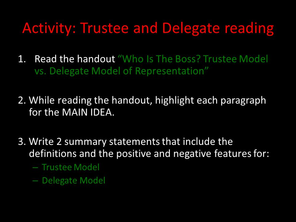 Trustee model of representation