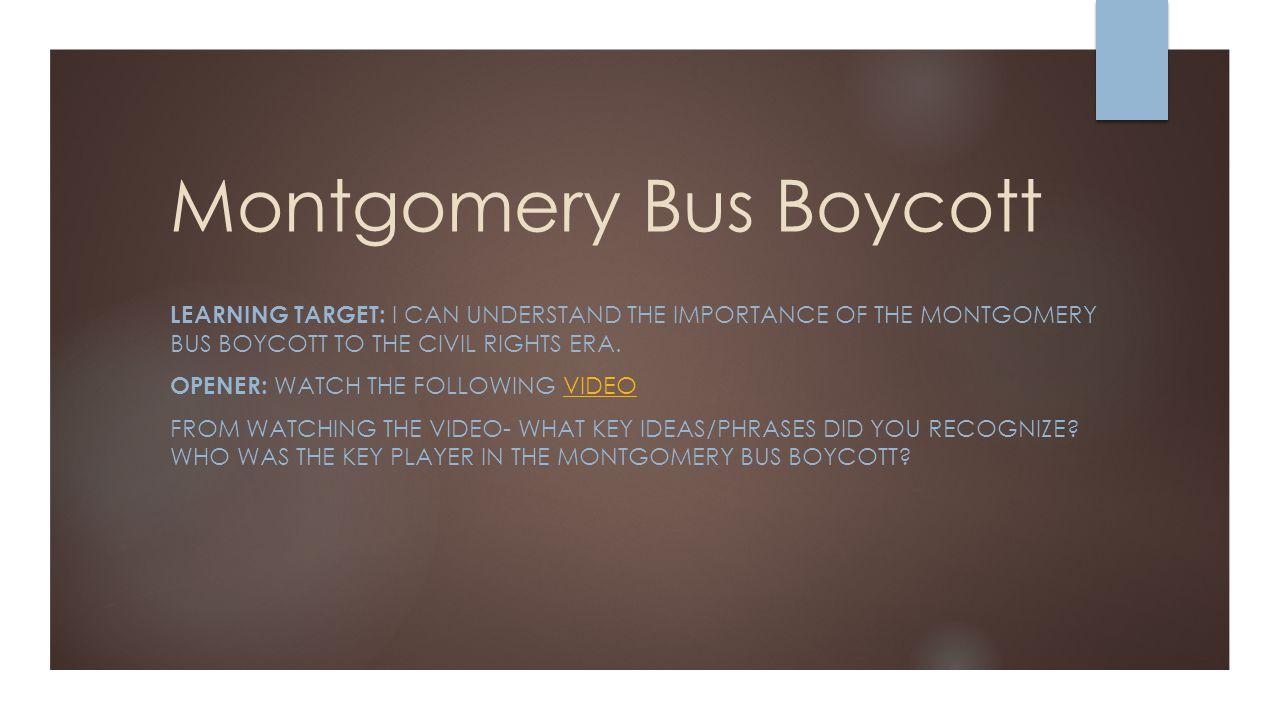 montgomery bus boycott ppt video online  montgomery bus boycott