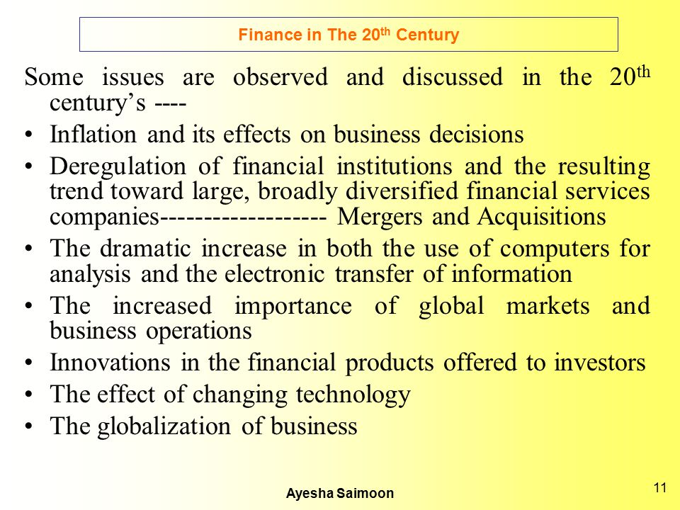 Finance in The 20th Century