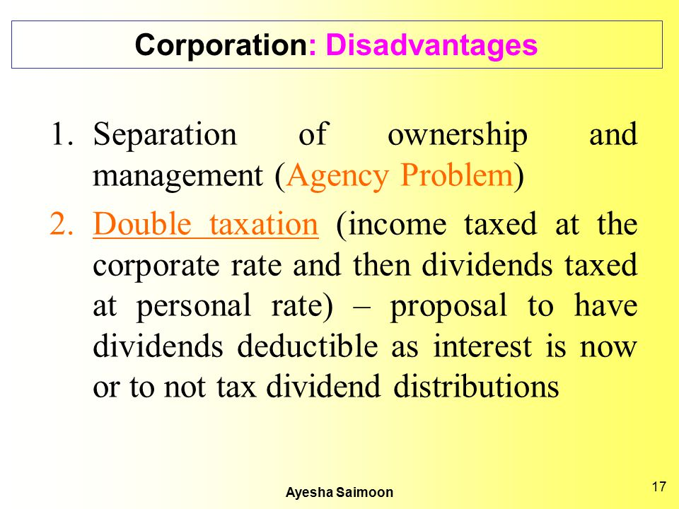 Corporation: Disadvantages