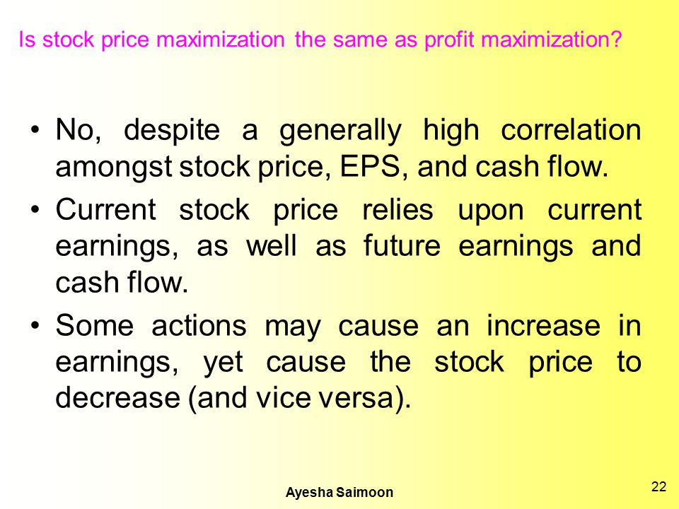 Is stock price maximization the same as profit maximization