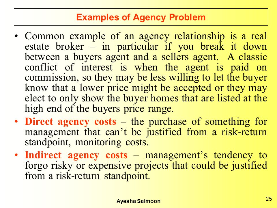 Examples of Agency Problem