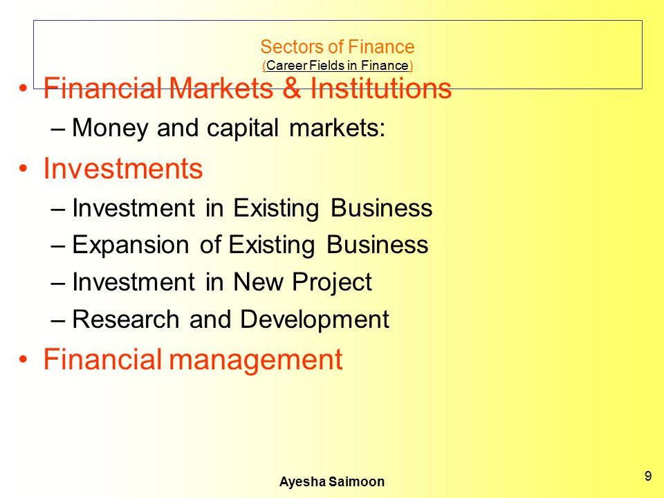 Sectors of Finance (Career Fields in Finance)