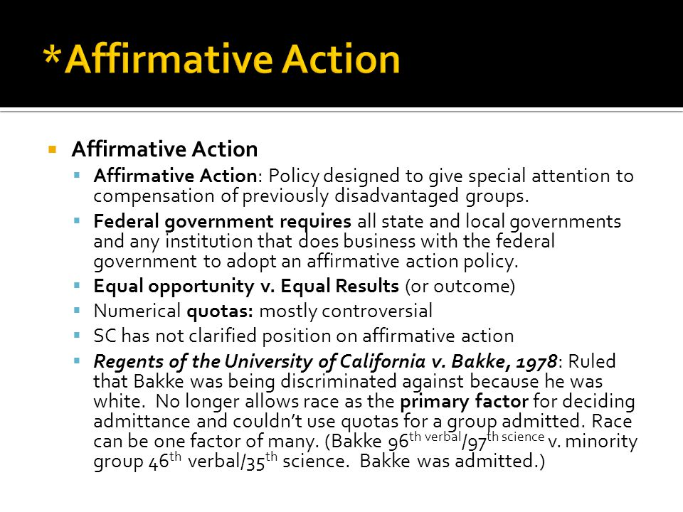 an overview of the affirmative action as a discrimination against the minorities in the untied state Multicultural education refers to any form of education or teaching that incorporates the histories,  state, and district  affirmative action:.