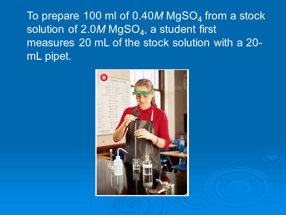To prepare 100 ml of 0. 40M MgSO4 from a stock solution of 2