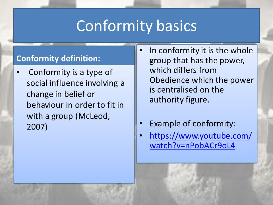 The definition of conformity and its influence