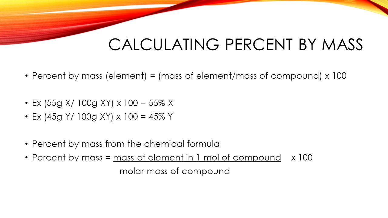 Calculating Percent By Mass The Mole Chapter Ppt Download How To Find Molar  Mass Of Zinc