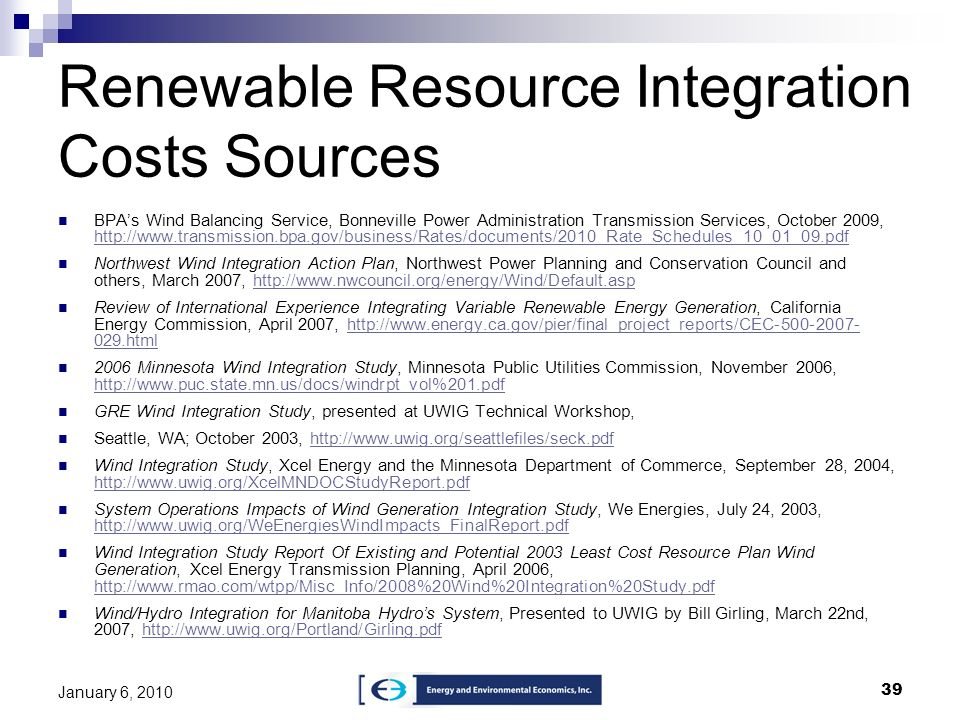 Renewable Resource Integration Costs Sources