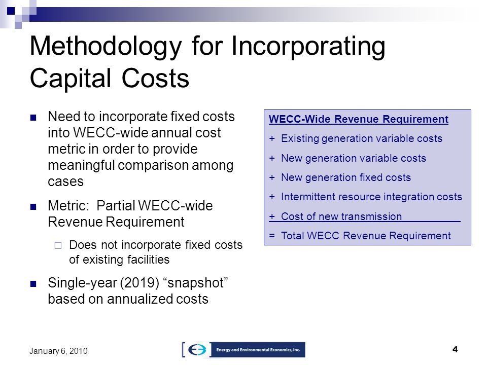 Methodology for Incorporating Capital Costs