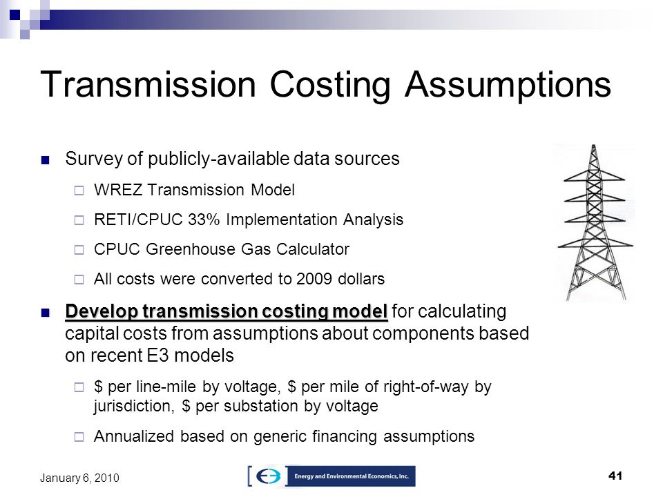 Transmission Costing Assumptions