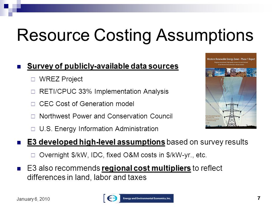 Resource Costing Assumptions