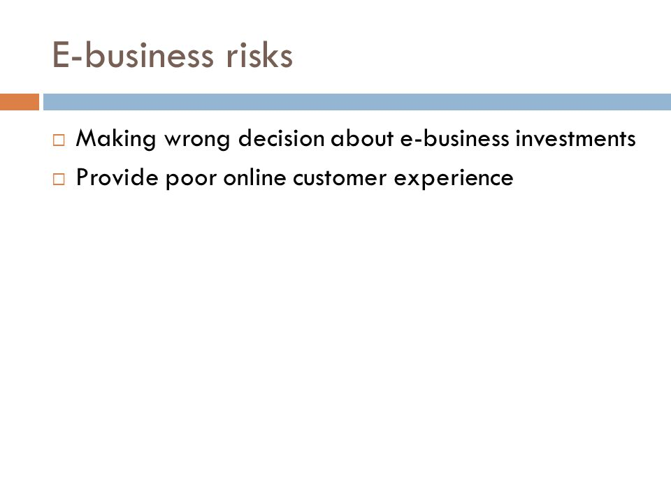 E-business risks Making wrong decision about e-business investments