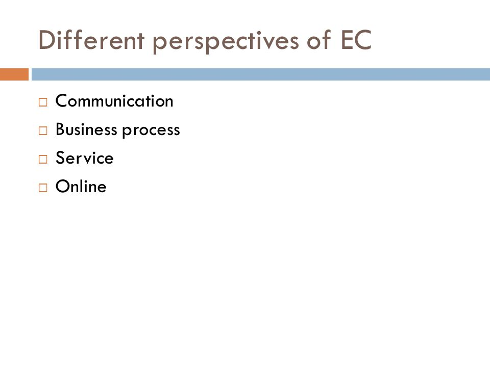 Different perspectives of EC