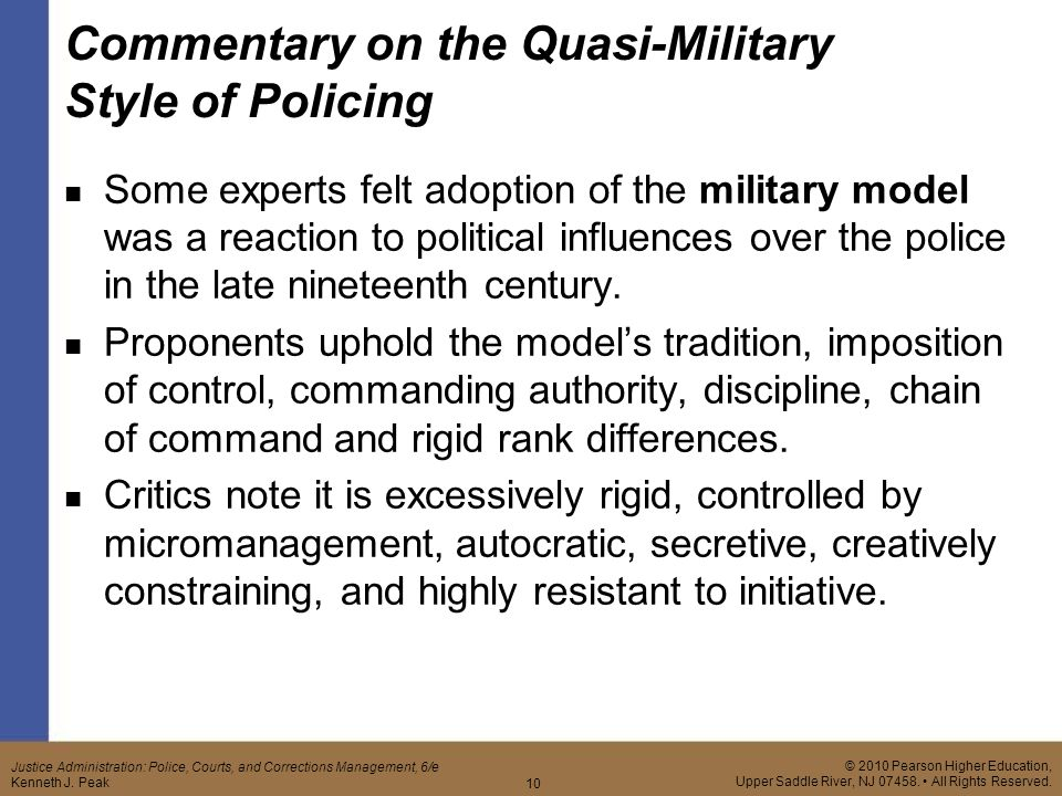 quasi military style of policing Police department organization paper university of phoenix cja/214 february 15, 2011 the organizational structure of most american police quasi-military style.
