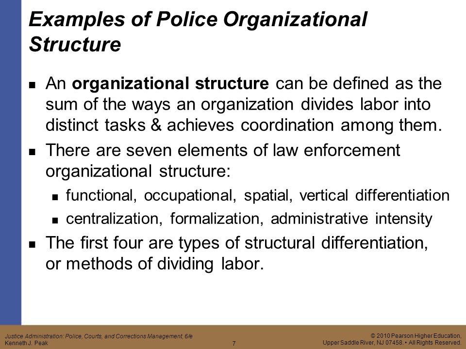 elements of police organization Police organizations, from the smallest to the largest, all have a social structure, composed of the social relationships among their members these social relationships accomplish a number of tasks, from socializing new members to accomplishing the goals of the organization.
