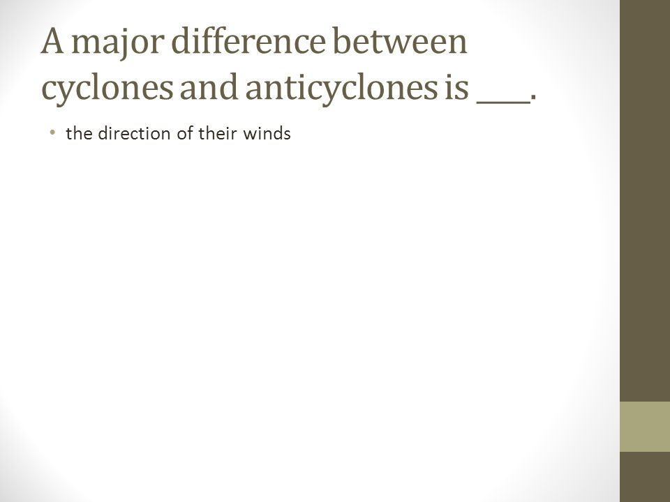 A major difference between cyclones and anticyclones is ____.