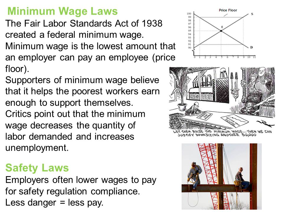 Minimum Wage Laws The Fair Labor Standards Act of 1938 created a federal minimum wage.