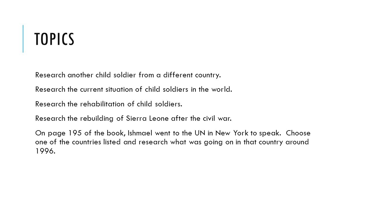 Child soldiers research paper outline